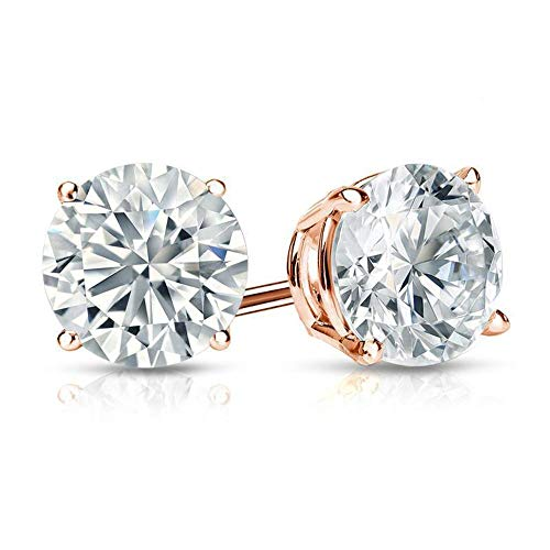 1.50 ct Round Cut Swarvoski Cz Diamond Solitaire Stud Earrings 14K Rose Gold Basket Screw Back
