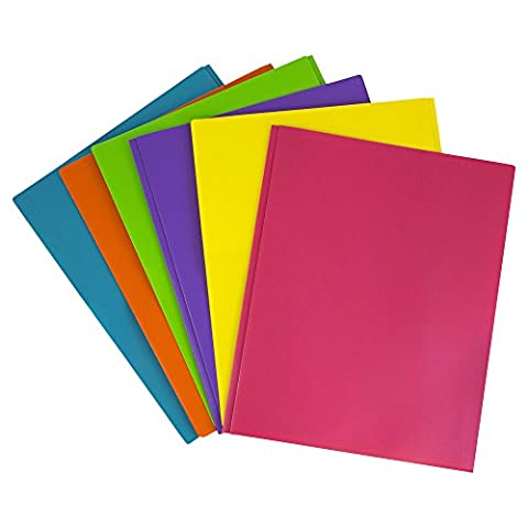 JAM Paper Plastic 2-Pocket Folders - Eco Friendly Folder with Metal Clasps - Assorted Fashion Colors - Pack of 6 - Design Metal Fashion