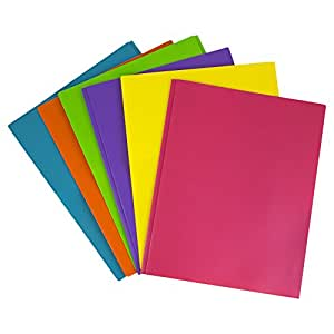JAM Paper Plastic 2-Pocket Folders - Eco Friendly Folder with Metal Clasps - Assorted Fashion Colors - Pack of 6 Folders