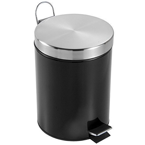 Home Discount® Bathroom Kitchen Bin 3 Litre Stainless Steel Waste Rubbish Cosmetic Pedal Bin Inner Bucket In Black