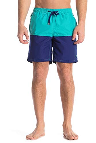 (Beach Bros Men's Swim Trunks - Quick Dry Bathing Suit w/Elastic Waistband & Pockets - Blue/Midnight Colorblock, Large (Waist: 33