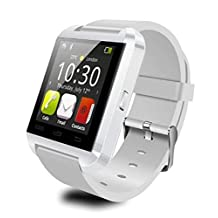 Fanmis U80 Bluetooth 4.0 Smart Wrist Wrap Watch Phone for Smartphones IOS Android Apple iphone 5/5C/5S/6/6 Puls Android Samsung S3/S4/S5 Note 2/Note 3 Note 4 HTC Sony (White)