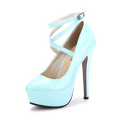 Talon Fermeture Chaussures PU Epais Club Sexy Aiguille Soiree Bleu Bride Lacets Femme ciel Plateforme OCHENTA Cheville Escarpins CqzRnwX