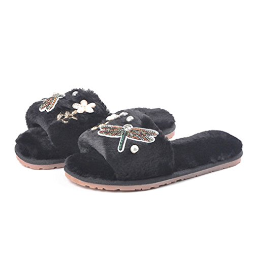 GIY Womens Winter Warm Slippers Fur Indoor Slippers For Women Fashion Cozy Plush Non-slip House Slippers Black PsdxZsr