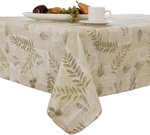 EVERYDAY LUXURIES Boxed Fern Flannel Backed Vinyl Tablecloth Indoor Outdoor, 60-Inch Round, Taupe ()