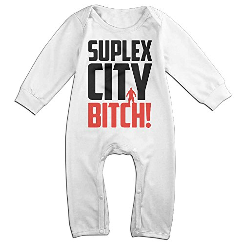KIDDOS Baby Infant Romper Welcome To Suplex City Long Sleeve Jumpsuit Costume,White 24 Months (Lil Viking Costume)