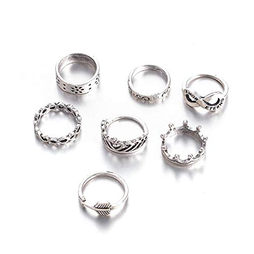 Xuxuou Ancient Silver Crown Cutout Knuckle Rings for Women Silver - Ring Out Cut Crown