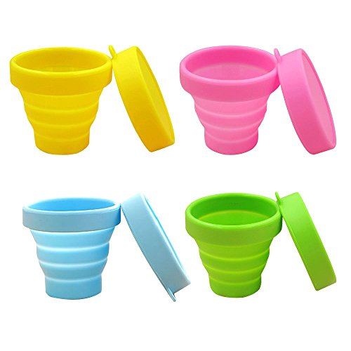 Blue Mug Stacking (Baiyu Silicone Portable Camping Mug Space Saving Collapsible Folding Travel Cup Unbreakable Retractable Drinkware With Case 170ml for Outdoor Hiking Picnic (Yellow/Blue/Green/Pink))