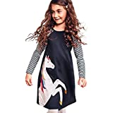 1-8 Years Toddler Kid Baby Girl Autumn Winter Cute Long Sleeve Dresses, Cotton Stripe Print Princess Party Dress Clothes