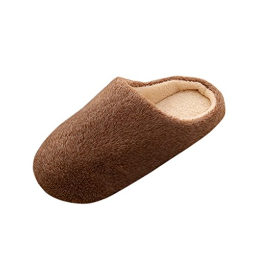 Remeehi - Zapatillas de estar por casa de Terciopelo para mujer café
