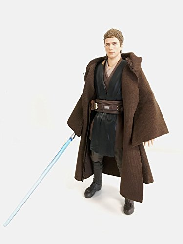 (FIGLot 1/12 scale dark brown fabric Jedi Robe for SH Figuarts Star Wars black series 6 inch figures (Figure NOT included))