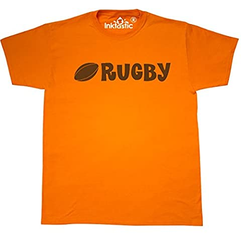 Inktastic - Rugby sports ball logo T-Shirt X-Large Safety Orange - 761 Rugby