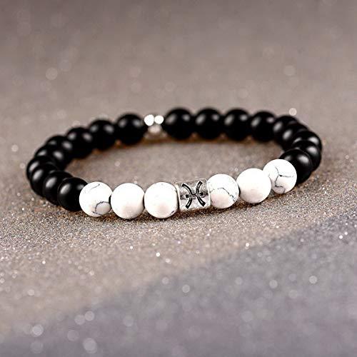 Hebel 12 Zodiac 8mm Matte Onyx Stone White Elastic Beads Bracelets Horoscope Bracelets | Model BRCLT - 33633 |