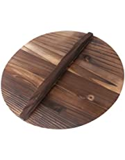 YARNOW Natural Wood Wok lid Cover 32cm Wooden Wok Pot Cover with Large Handle Healthy and Environment Friendly Pan Cover for Kitchen Cooking
