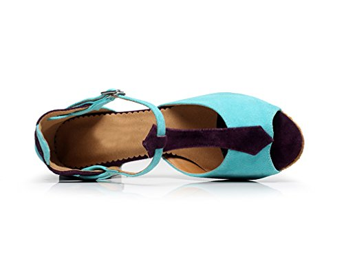 MINITOO Strap T Ballroom Satin Dance Buckle Blue QJ6212 Shoes Women's wpqIpr