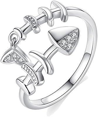 魚骨リング 指輪 レディース 人気 指輪 フリーサイズ シルバー リング 結婚式 婚約 記念日 ファッション プレゼント