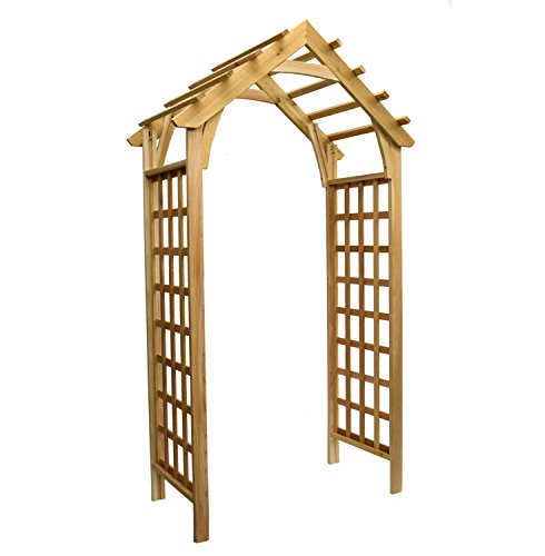 Garden Architecture Gable Arbor with Lattice Sides Cedar Wood Over 7ft High with Arch Design (Cedar Arched Arbor)