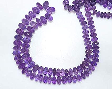Faceted Rondelle light Amethyst Gems Loose Beads for Jewelry Making Strand v1717