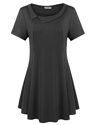 Loose Fitting Tops for Women,Jazzco Short Sleeve Peter Pan Collar Solid Color A Line Swing Tunics(Black, Large) (Nice Swing Sets)