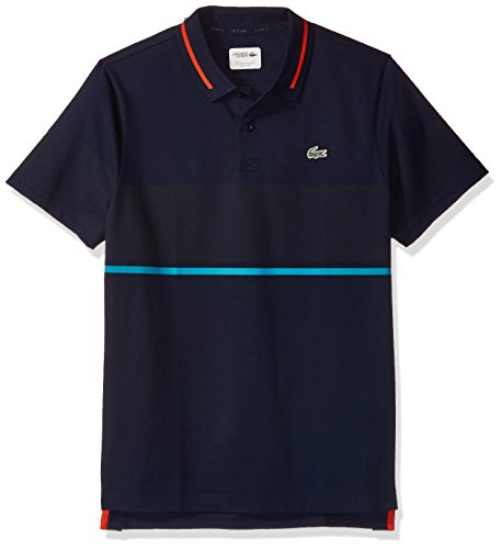 Lacoste Men's T1 Chest Stripe Super Light Knit, Navy Blue/Etna Red/Oceanie/White, L (Mens Chest Polos Stripe)