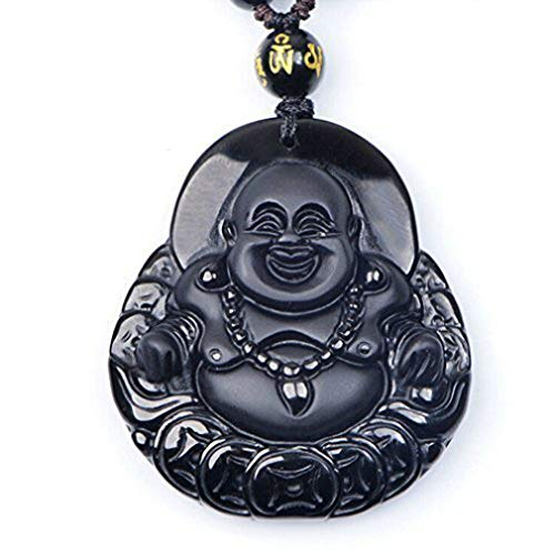 c1lint7785631 Natural ice Kind of ObsidianHappy Laughing Maitreya Buddha Sack Monk Necklace Pendant