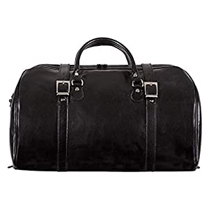 Italian Leather Duffel Bag Carry-on Size Tourist Weekender Case 10