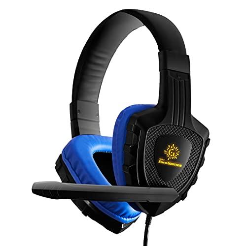 RPM Euro Games 3D Premium Gaming Headphones with LED & Mic for Mobile, Tablet, PC, PS4, Xbox One, Blue, Medium (Headphone - Premium)