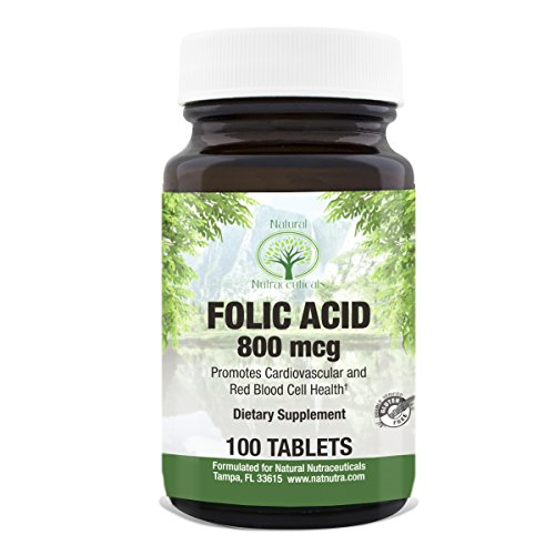 Natural Nutra Folic Acid Supplement, 100 Tablets, 800 mcg