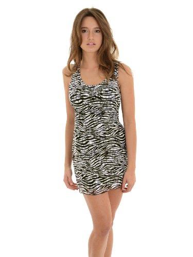 Kontacious Juniors Zebra Print Mini Dress Black White Dress Overlay Racerback Sizes: Medium - Zebra Tank Dress