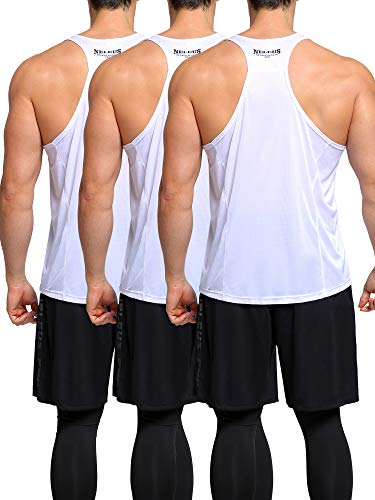 Neleus Men's 3 Pack Workout Muscle Tank Top Sleeveless Gym Dri Fit Shirt,White/White/White,XL,EU 2XL