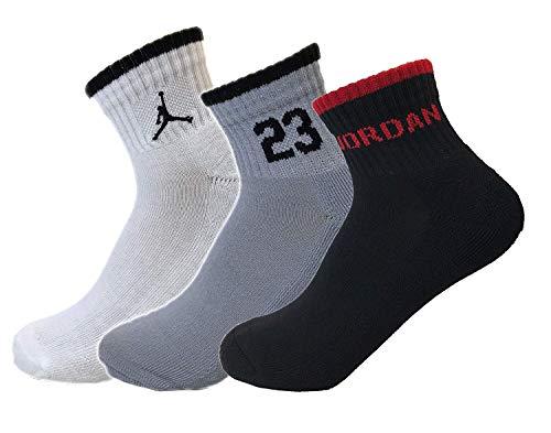 Nike Air Jordan Boys 3PK Quater Socks (9-11 (Shoe 5Y-7Y), Hyper Grey/White/Black)