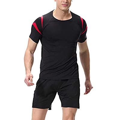Save 15% ! BBesty Men's Tight-Drying Stitching and Quick-Drying Round Neck Short-Sleeved Fitness Clothes Shorts Suit