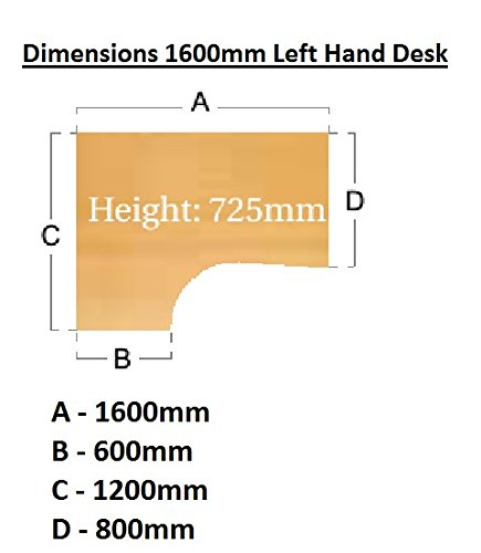 Ergonomic 1600mm Left Hand Oak Corner Office Desk Computer Table