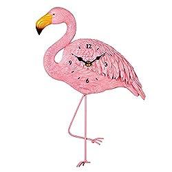 Collections Etc Flamingo Tropical Wall Art Décor 3-Dimensional Pendulum Clock