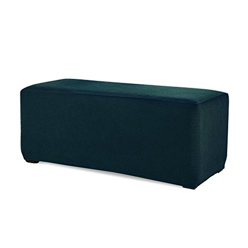 Subrtex Stretch Storage Ottoman Slipcover Spandex Elastic Rectangle Footstool Sofa Cover for Living Room (Large, Blue)