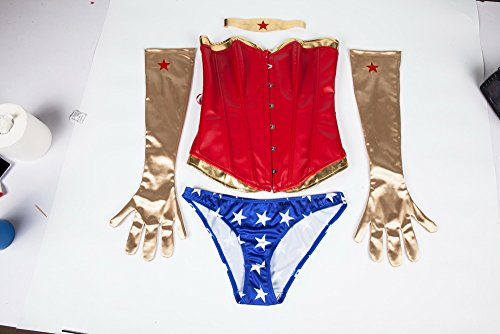 DODOING Wonder Woman Halloween Costume Cosplay Overbust Corset with Gloves