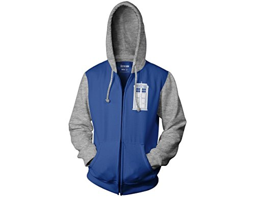 Ripple Junction Doctor Who Tardis School Fleece Zip up Hoody Medium Royal