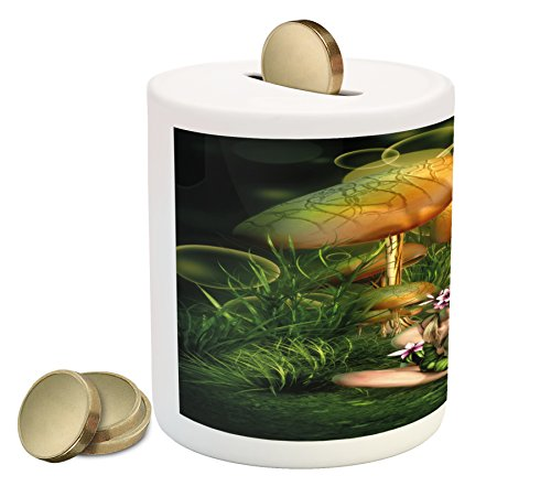 Lunarable Mushroom Piggy Bank, Fairy Woman in Enchanted Forest Elf Pixie Fungus Growth Flowers Grass, Printed Ceramic Coin Bank Money Box for Cash Saving, Green Pale Brown ()
