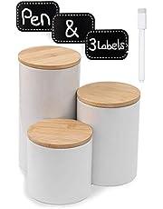 Praknu Voorraaddozen keramiek set van 3 wit - luchtdicht met deksel - vaatwasmachinebestendig - incl. etiketten en pen