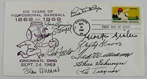 HOFer Signed Cachet First Day Cover Ted Williams George Sisler Pie Traynor Lefty Grove +7 ()