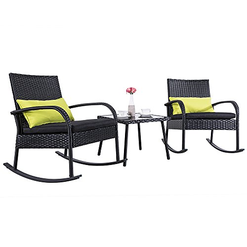 Cloud Mountain Outdoor 3 Piece Rocking Chair Set Wicker Rattan Bistro Set Wicker Furniture - Two Chairs with Glass Coffee Table, Black Cushion with Black Rattan - Patio Furniture Rocking Chairs