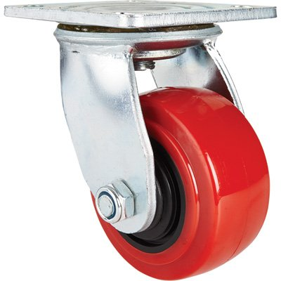 Ironton Standard-Duty 4in. Swivel Polyurethane Caster - 550-Lb. Capacity, Red