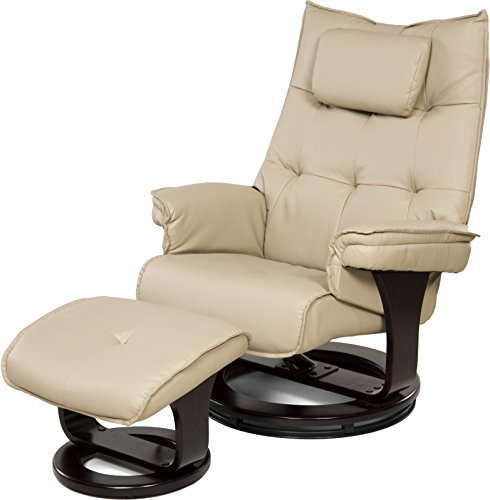 Cream Bonded Leather Ottoman (Relaxzen 8-Motor Massage Recliner with Lumbar Heat and Ottoman, Cream)