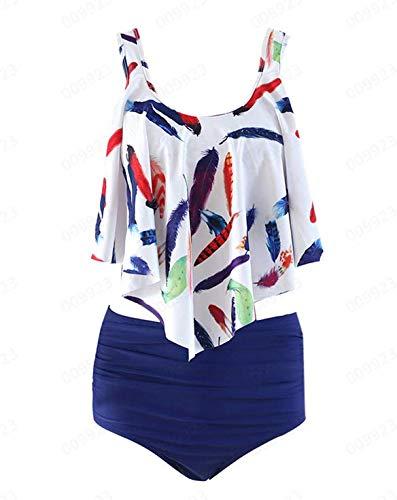 Outique Women Bikini Plus Size Ruffle Lotus Leaf Print High Waist Split Two Piece Swimsuits Set Blue