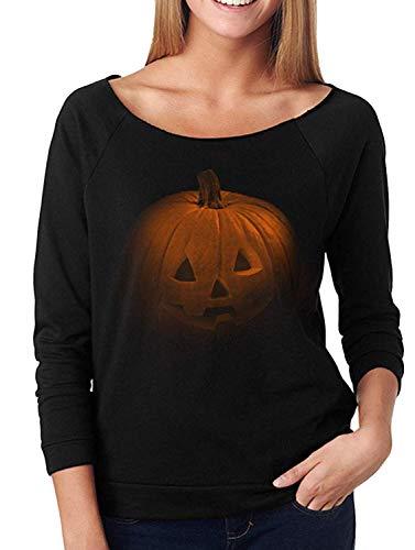 POGTMM Women's Halloween Costumes Pumpkin Face Long Sleeve Sweatshirts Casual Pullover Tops (XL(16-18), A-Black Pumpkin Print) -