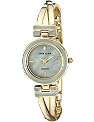 Anne Klein Womens AK/2622GYGB Diamond-Accented Gold-Tone Crossover Bangle Watch