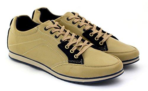 Hombre De Lona Casual Zapatillas Con Cordones Correr Caminar zapatillas RU 6 7 8 9 10 11 - Beige/Azul marino, 7 UK / 41 EU