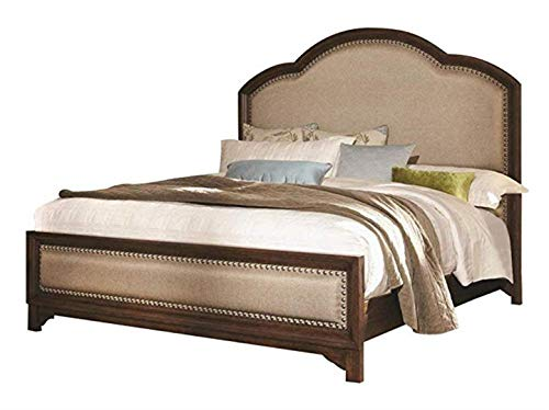 Laughton King Upholstery Bed Cream and Rustic Brown ()