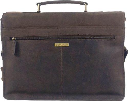 """UNICORN Echt Leder 16.4"""" laptop Tasche Messenger Aktentasche Braun bag #4F"""