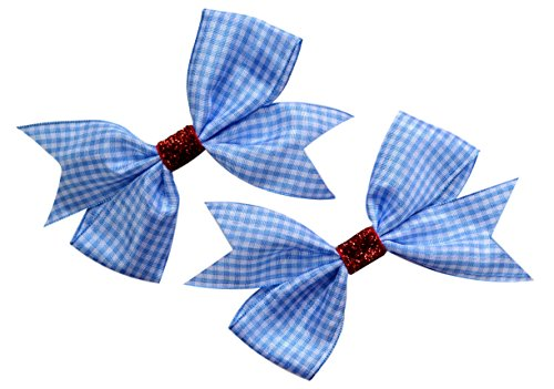 Gingham Bow - Dorothy Costume Hair Bow Set (2) Gingham Ribbon and Ruby Red Glitter Hair Bows ~ Funny Girl Designs